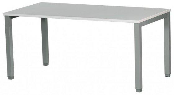 Bureau plateau colori blanc piètement métallique colori aluminium